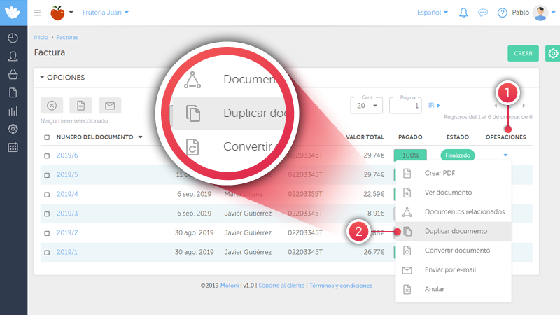 """In the operations column you will find """"Duplicate document"""""""