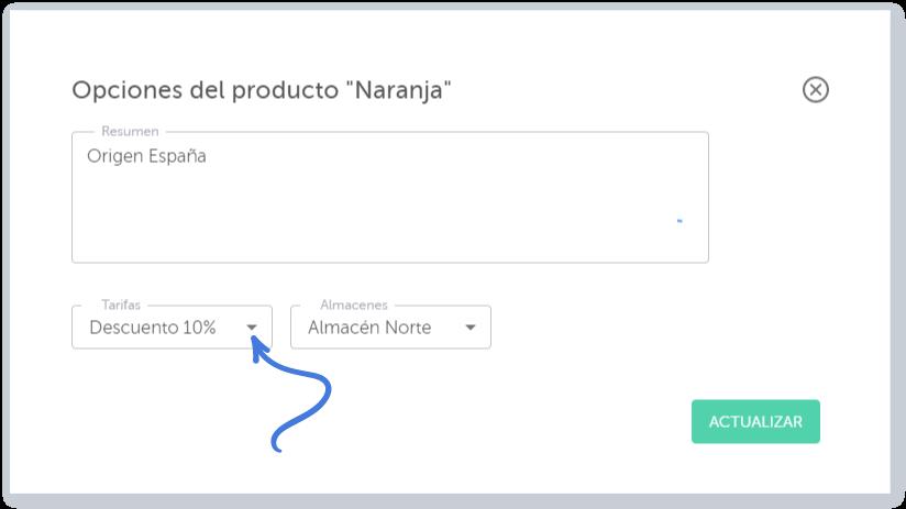 Opciones del producto - Tarifas