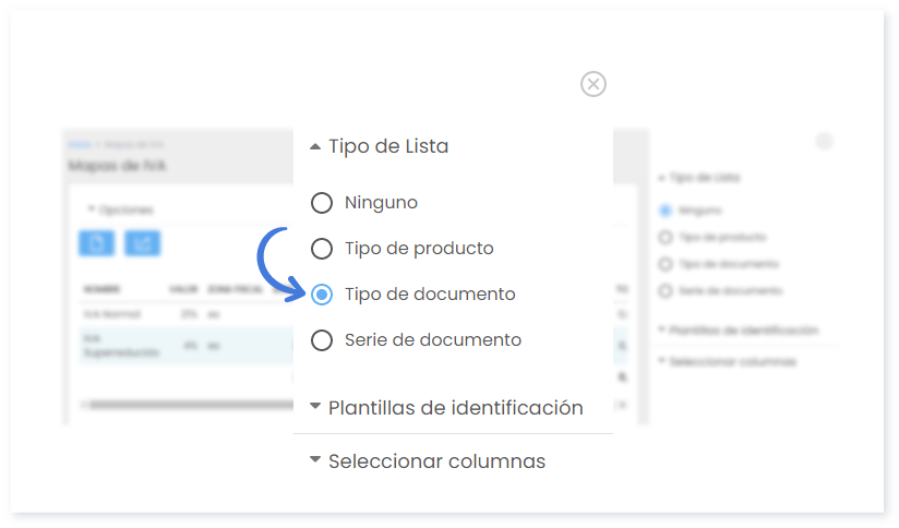 Tipo de lista - Tipo de documento