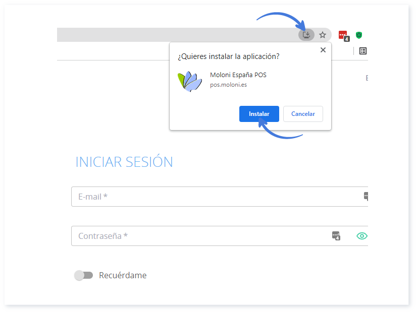 Descargar la aplicación en Chrome